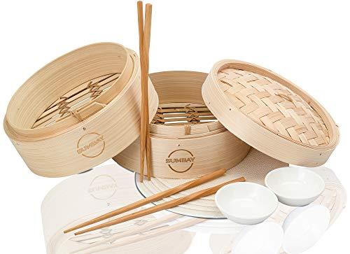 Sumbay Dampfgarer Küche Bambus – Dampfkorb aus Bambus – Dampfgarer Rolle Frühling, Wonton, Dim Sum, Boilies, Fleisch, Huhn, Fisch, Gemüse – PDF Rezept für die chinesische Küche
