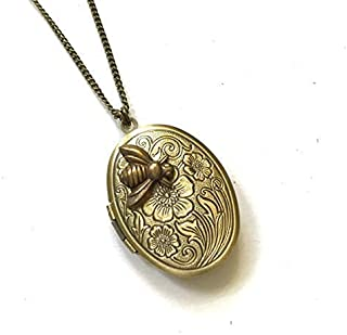 Womens Locket that Hold Pictures Necklace, Keepsake Picture Frame Locket, Flower Picture Locket with Bumble Bee, Cutest Gift, Brass Locket, Vintage Inspired Locket Necklace for Women, 30 Inch Necklace