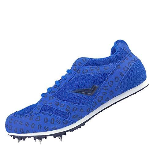 Männer Frauen Leichtathletik Schuhe, Junioren Sprint Spikes Unisex Leichtlauftrainingsschuh, Lace Up Atmungsaktive Wettbewerb gewidmet Sportschuhe,Blau,35