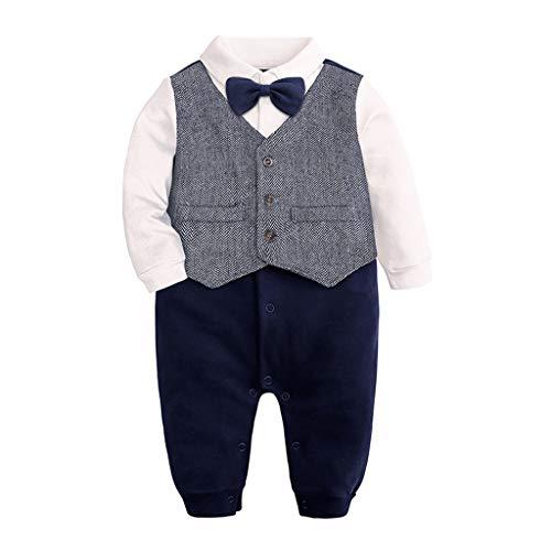 TTLOVE_Baby Jungen Strampler Neugeborenes Säugling Smoking Anzug Langarm Gentleman Fliege Bodysuit Taste Runter Overall Kleidung Für 0-24 Monate (Blau,(6,3-6 Monate))