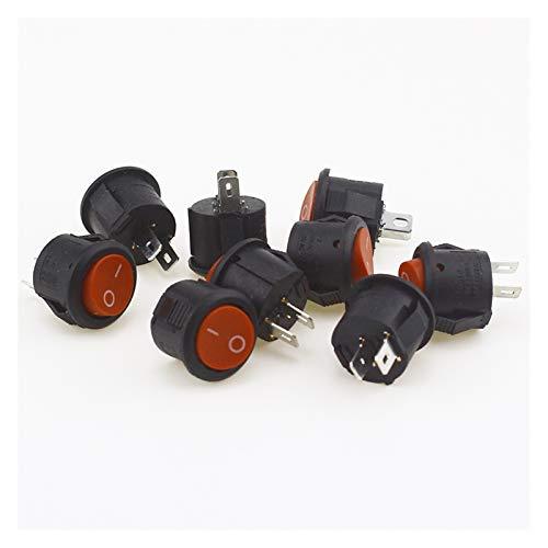 ZHANGSHENG Zsheng 5 unids / 10pcs 16mm de diámetro pequeño Bote Redondo interruptores de rockero Negro Mini Redondo Redondo Negro Rojo 2 Pin Off Bocker Switch (Color : Red 10PCS)