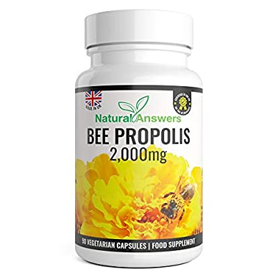 Natural Answers Pure Bee Propolis 2000mg - 90 Capsules 45 Servings - 100% Suitable for Vegetarians Bees Propoli