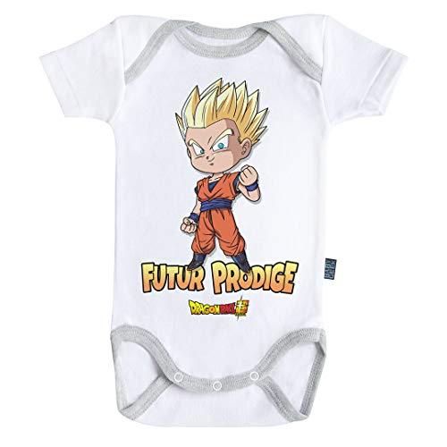 Baby Geek Futur Prodige Gohan - Body de manga corta para bebé con licencia oficial gris 12-18 Meses