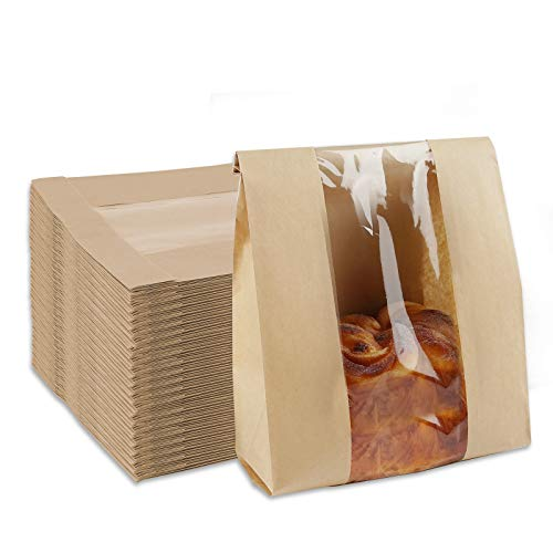 Toast Paper Bag 25 Pack Kraft Bread Bags with Window Label Seal Stickers Packaging Paper Bakery Bags for Loaf Pastry Cookies Candies, 13.8 x 8.3 x 3.7 Inch