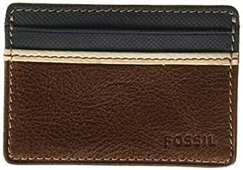 Fossil Men s Elgin Leather Slim Minimalist Card Case Front Pocket Wallet Brown