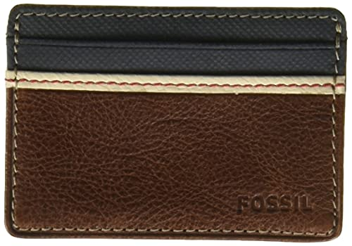 Fossil Men's Elgin Leather Slim Minimalist Card Case Front Pocket Wallet, Brown