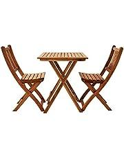 SAM 3-delig balkongroep Blossom tuingroep bestaande uit 1 tafel + 2 klapstoelen, inklapbaar, massief acaciahout & geolied, FSC 100% gecertificeerd