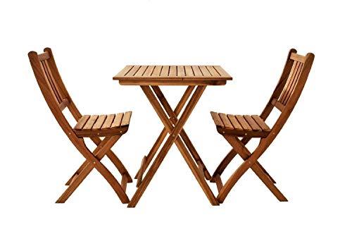 SAM 3-TLG. Balkongruppe Blossom, Akazienholz geölt, Gartengruppe mit 1 Tisch + 2 Stühle, klappbar