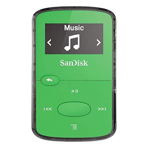 SanDisk 8GB Clip Jam MP3 Player, Green - microSD card slot and FM Radio - SDMX26-008G-G46G (Renewed)