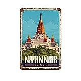 Myanmar City Retro Reise Blechschild Vintage Metall Pub