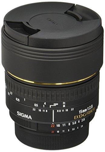 Sigma 15mm f/2.8 diagonal fisheye DG EX NAF - Objetivo para Nikon (distancia focal fija 15mm, apertura f/2.8) color negro