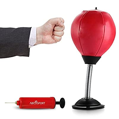 Abco Tech Stress Buster Desktop Punching Ball ? Relieves Stresses and Good for Exercise - Super Strong Suction Cup Holds Securely on Smooth, Flat and Dry Surface ? Pump Included ? Just Punch Me from