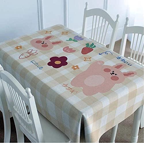 Nappe de Lapin Nappe imperméable Nappe rectangulaire Table à Manger Couverture cheminée comptoir-2 140X220Cm