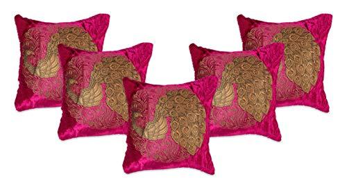 NEHA HANDICRAFTS 5 Piezas De Seda Y Terciopelo Decorativo Hermoso Pavo Real con Fundas De Cojín De Sofá Zari Doradas En Relieve - 16'X 16', Rosa Oscuro