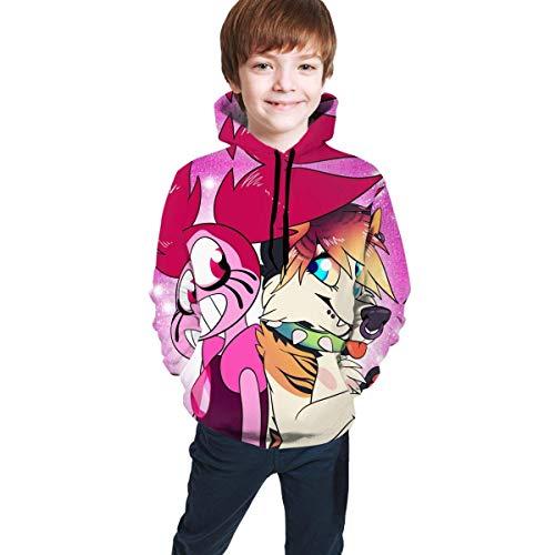 Sudadera con Capucha con Estampado para niños Pullover Pocket Niños Niñas Top Negro de Moda Cartoon Steven...