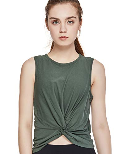 CRZ YOGA Mujer Camiseta Sin Manga T-Shirt Escote en U Casual Tops Algodón Tees Verde Oliva 36