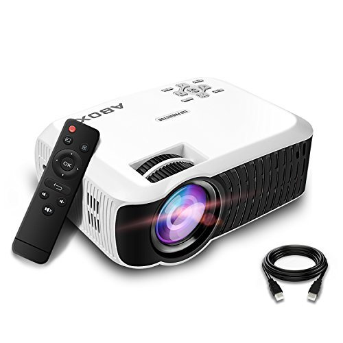 GooBang Doo Projector, 2018 Updated ABOX T22 Portable Home Theater LCD Video Projector Support 1080p HDMI USB SD Card VGA AV Phone Laptops for Home Cinema TV 60 ANSI Lumen White