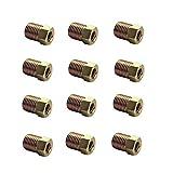 DEWHEL 12PCS 3/8-24 Inverted Flare Gold Zinc Tube Nut Fitting 3/16 Steel Brake Line Tubing
