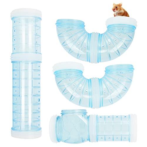 Haisheng 4 Stück Röhren für Den Tunnel Hamster DIY Hamster Cage Tube Hamster Spielzeug Hamster Cage Tubes Tunnel für Kleine Tierkäfig Externe Zubehör Blau Hamster Tube Set