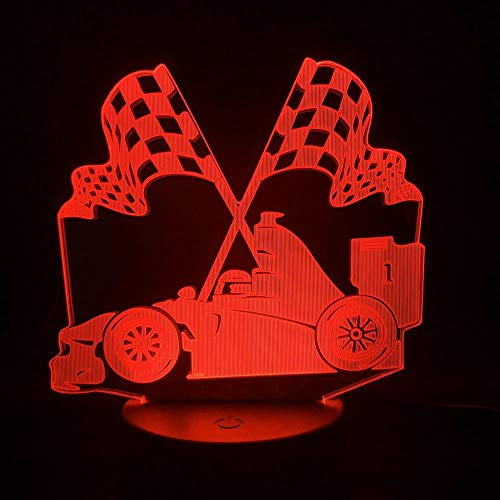 3D Nachtlampje Auto Sportwagen Serie Kleurrijke Crack Led Tafellamp, Vlag Racen, Usb-Batterij Dual-Use Touch 7 Kleuren
