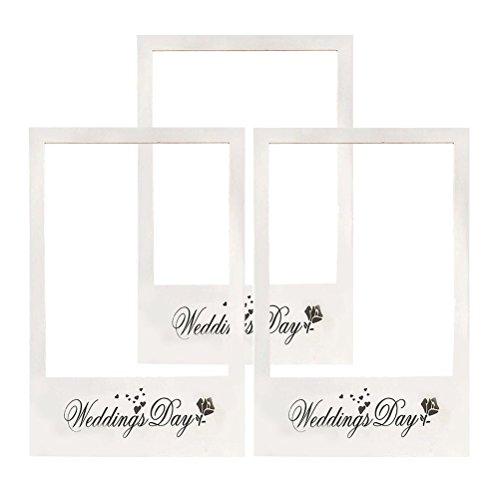 BESTOYARD Wedding Day Foto großen Rahmen DIY Papier Photo Booth Requisiten für Hochzeit 3st