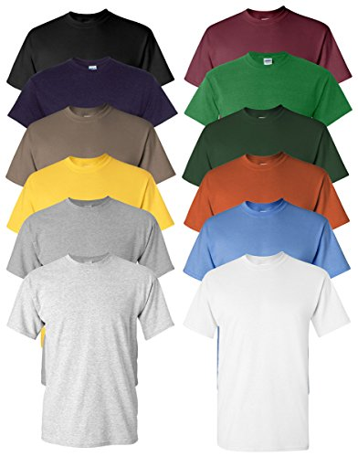 Gildan Men's Heavy Cotton Tee (Pack of 12), Assorted Mixed Colors, Small
