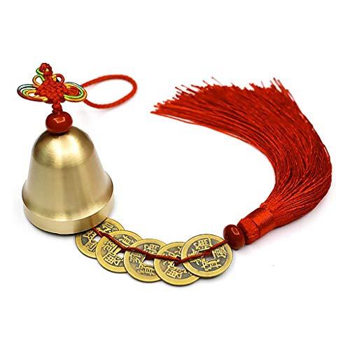 GGsheng Chinesische Feng Shui Glocke für Reichtum und Sicherheit, Münzen für Erfolg, Abwehr des Bösen