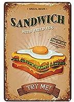 サンドイッチ目玉焼き超耐久性ブリキサインレトロバーピープルケーブカフェガレージホームウォールデコレーションサイン8x12インチ