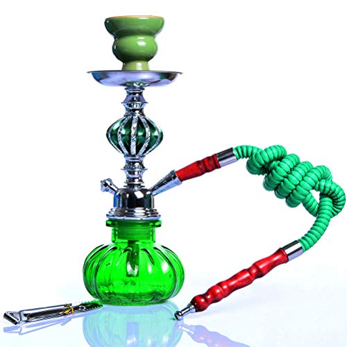 Pequeño Vidrio Hookah Shisha Pipe Set Hokkah Chicha con 1Hose Recipiente De Metal De Carbón Pinzas Fumar En Pipa para Cafeterías, Bares, KTV,Verde