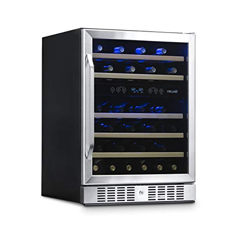 NewAir Wine Cooler with 46 Bottle Capacity - Built-In Compressor Mini Bar Fridge with Right Hinge Glass Door - Handle Lock Cedar Shelves Included - AWR-460DB - Stainless Steel
