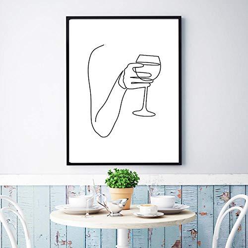 CDERFV Vino Abstracto Bellas Artes Línea Dibujo Pintura Saludos Bar Carrito Impresión Lienzo Póster Imagen Minimalista nórdica Decoración de cocina-30x40cm (sin Marco)