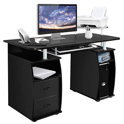 COSTWAY Computertisch Schreibtisch Bürotisch Arbeitstisch PC-Tisch mit Tastaturauszug...