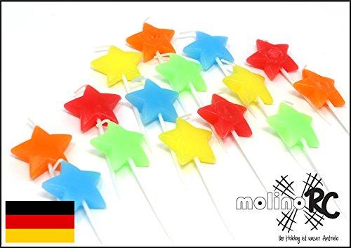 molinoRC 15x Stern-Kerze Kerze Feier | Fest Stern Sterne | Geburtstagskerze Dekokerze | Happy Birthday Kerze | Geburtstag Kerze Bunte Farben BRD