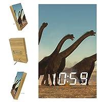 ベッドルーム用デジタル目覚まし時計キッチンオフィス3アラーム設定ラジオウッドデスククロック-風景ファンタジー恐竜