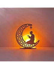 R-WEICHONG - Lampada decorativa in legno Ramadan Mubarak con stella di luna sospesa con candela a LED
