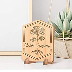 Center Gifts Personalized with Sympathy Wooden Memorial Card with Flower