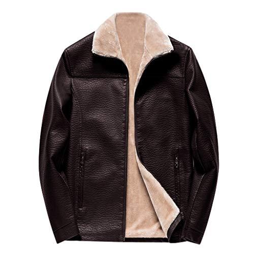 Abrigos para Hombre BBestseller Moda Chaqueta de Cuero para Hombre Más Terciopelo Manga Larga Cárdigan Invierno Parka Jacket Jersey Outwear