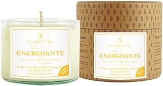 Pur Bien-Etre Bougie Artisanale Energisante Parfumee aux Huiles Essentielles Bio Menthe Poivree Eucalyptus Citronne  Fait Main  Cire 100  Naturelle Ecoresponsable