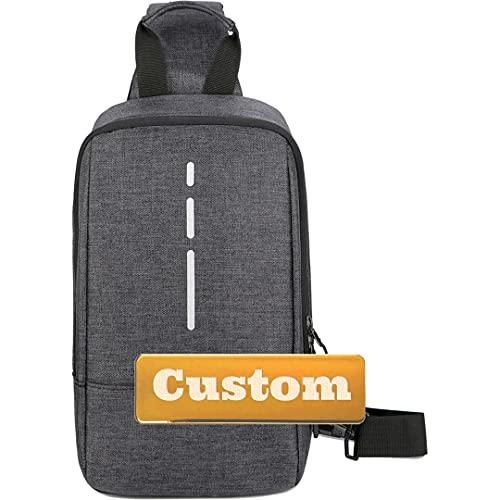 Nome personalizzato Nome personalizzato Mini Sling One Borsa a tracolla Daypack Piccola fionda per le donne Escursioni (Color : Black, Size : One size)