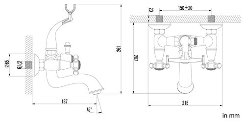 Sanlingo – Badewannen-Armatur mit Brausegarnitur in Retro-Look, Zweihandmischer, Porzellangriff, Chrom - 2