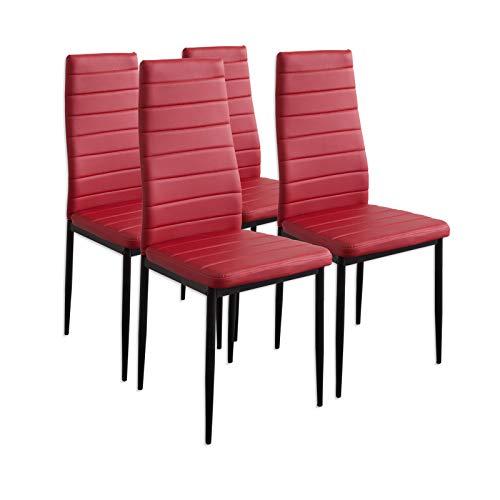 Albatros 2704 Milano Lot de 4 chaises, Rouge