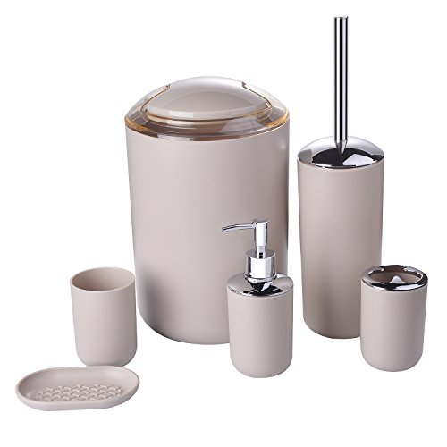 Zuvo 6 Pcs Plastic Bathroom Accessory Set Luxury Bath Accessories Bath Set Lotion Bottles, Toothbrush Holder, Tooth Mug, Soap Dish, Toilet Brush, Trash Can, Rubbish Bin (Cream)