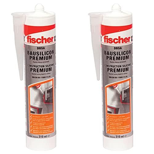 fischer Bausilicon DBSA, geruchsarmes Premium Silikon, wetterfeste Dichtmasse, 310 ml, weiß & Bausilicon DBSA, geruchsarmes Premium Silikon, wetterfeste Dichtmasse, 310 ml, betongrau