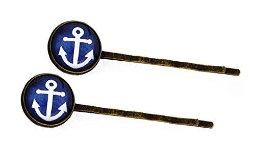 Miss Lovie Damen 2er Set Haarschmuck Modeschmuck Schmuck Anker Haarklammern Maritim Blau Bronze