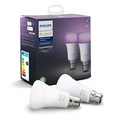 Philips Hue Ampoules LED Connectées White & Color Ambiance B22 Compatible Bluetooth, Fonctionne avec Alexa Pack de 2