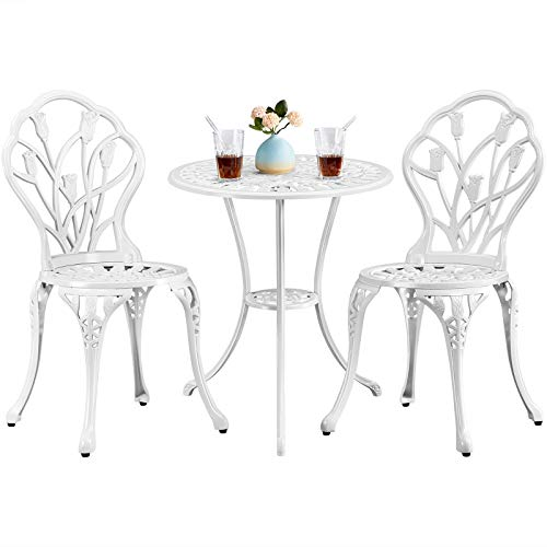 Yaheetech 3 Piece Bistro Furniture Set Aluminum 2 Seats Patio Dining Chairs and Table Garden Furniture Set for Backyard,Porch,White