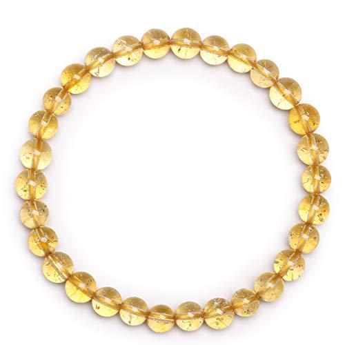 Bracelet Pierre de Citrine Bracelet en Perles Bracelet en Pierre Naturelle Bracelet en Perles 6mm Bracelet Élastique Bracelet Femme Bracelet Extensible Semi Précieuse Cadeau Noel