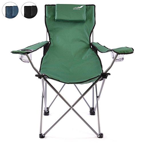 Divero Camping Stuhl Faltstuhl Angelstuhl dunkelgrün Kopfkissen Getränke robust bis 130 kg