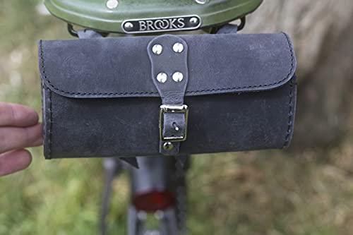 London Craftwork CHARCOAL BLACK - Bolsa de sillín de bicicleta (piel auténtica, estilo vintage, estilo BROO-BL-RAW)