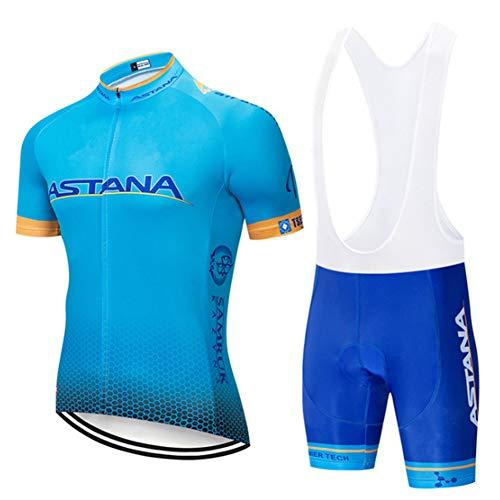 FJLR wielersportshirt, korte mouwen, heren, fietskleding, sportjersey + fietsbroek met 9D gelbekleding, J,5XL